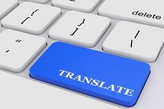 Blue Translate Key on White PC Keyboard. 3d Rendering Stock Image
