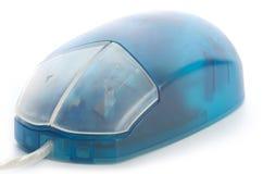Blue translucent mouse. Isolated on white stock image