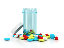Blue translucent plastic jar with colored pills Stock Photography