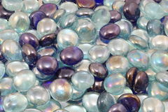 Blue and Translucent rainbow glass beads Royalty Free Stock Photo