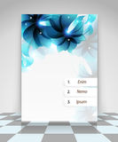 Blue transparent flowers business flyer design Stock Image