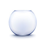 Blue Transparent Glass Smooth Empty Fishbowl Aquarium Isolated on Background Stock Photography
