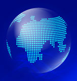 Blue transparent globe with waves Royalty Free Stock Image