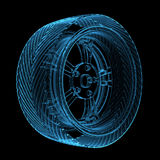 Blue transparent glowing car tire Royalty Free Stock Photography