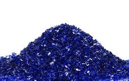 Blue transparent plastic resin. Blue transparent granulat pellets of thermoplastic material Stock Images