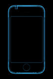 Blue transparent x-ray phone. 3D 3G rendered blue transparent x-ray phone Royalty Free Stock Photography