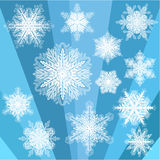 Blue Transparent Snowflake Set Royalty Free Stock Photos