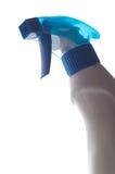 Blue transparent spray bottle on white background Stock Image