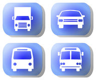 Blue transport buttons Royalty Free Stock Images