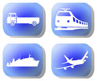 Blue transport buttons Stock Images