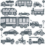 Blue transport icons Stock Photography