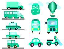 Blue transport like cars bus ship vector illustration