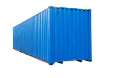 Blue transportation container isolated on white Stock Photos