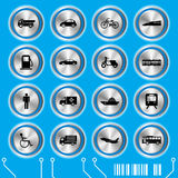 Blue transportation icons set Stock Photo
