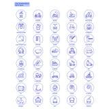 Blue Transportation Web Icons Set Royalty Free Stock Photography
