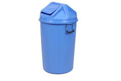 Blue trash can. Stock Photo