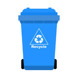 Blue Trash with Recycle icon-Vector Ilustration Royalty Free Stock Photo