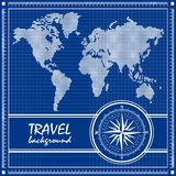 Blue travel background with dotted world map. Blueprint. Travel background with dotted world map and compass rose. Vector illustration Stock Images
