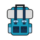 Blue travel backpack cartoon Royalty Free Stock Photography