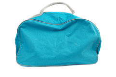 Blue travel bag. Isolated on white background Stock Photos