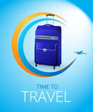 Blue Travel bag. On light blue background. Vector illustration travel bag for poster. Trail in the sky from the plane Stock Photo