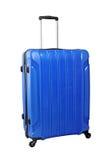 Blue travel bag on wheels, isolated on white background Stock Photo