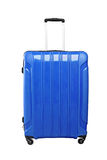 Blue travel bag on wheels, isolated on white background. Stock Images