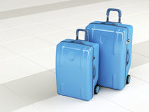 Blue travel bags Stock Photo
