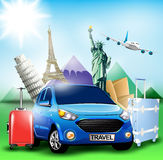 Blue Travel Car together with Plane and World's Famous Landmarks Stock Image