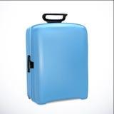 Blue travel plastic suitcase realistic on white background. Vector illustration Stock Photos