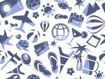 Blue travel seamless pattern Royalty Free Stock Image