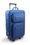 Blue travel suitcase stock photography
