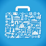 Blue Travel Vector Luggage Royalty Free Stock Photos