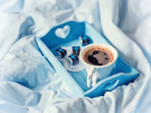 Blue Tray with breakfast on a bed Stock Photography