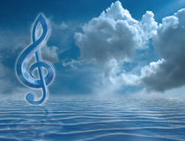 Blue Treble Clef Stock Image