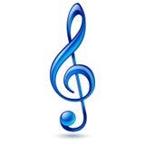 Blue treble clef. Shiny blue treble clef on white background Stock Photos