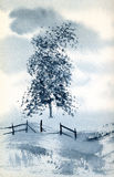 Blue Tree. A watercolour painting of a tree Stock Photo