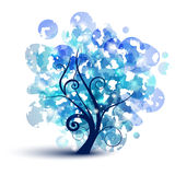 Blue tree. Abstract tree silhouette with blue leafs Royalty Free Stock Photo