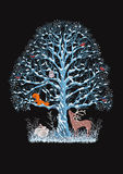 Vector illustration of blue tree. Big blue tree with a flock of bullfinches, a squirrel and an owl on it as well as a reindeer and rabbits near it on the black royalty free illustration