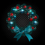 Blue tree branch in the form of a Christmas wreath and snowflakes. Red, green balls checker gradient background. Vector illustration Royalty Free Stock Photos