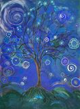Blue tree of life with lollypops and curls.