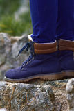 Blue trekking shoes Stock Photography