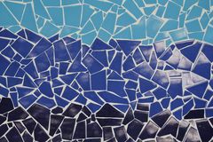 Blue trencadis mosaic. Ceramic decoration Stock Photo