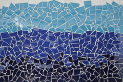 Blue trencadis mosaic. Ceramic decoration Royalty Free Stock Photography