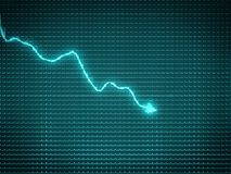 Blue trend graph as symbol of recession. Or financial crisis Stock Photos