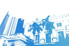 Blue Trendy and Modern City Life Abstract Royalty Free Stock Photography