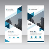 Blue triange Business Roll Up Banner flat design template Stock Images