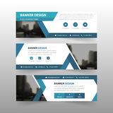 Blue triangle abstract corporate business banner template, horizontal advertising business banner layout template flat design set Royalty Free Stock Photo