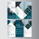 Blue triangle business trifold Leaflet Brochure Flyer report template vector minimal flat design set, abstract three fold Stock Images