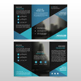 Blue triangle business trifold Leaflet Brochure Flyer report template vector minimal flat design set, abstract three fold. Presentation layout templates a4 size stock illustration